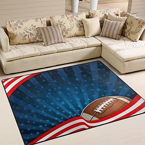 5 X 7 Rugby (Use7 Teppich, Motiv American Flagge, Fu?ball-Rugby-Star, gestreift, f¨¹r Wohnzimmer, Schlafzimmer, Textil, Mehrfarbig, 203cm x 147.3cm(7 x 5 feet))