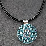 Schwarz Leder Schnur Halskette mit Magnet Anhänger für Crystal Golf Ball Marker für Lady, blau