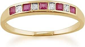 Giallo 9kt oro 0.28ct rubino naturale e diamante classico anello Half Eternity