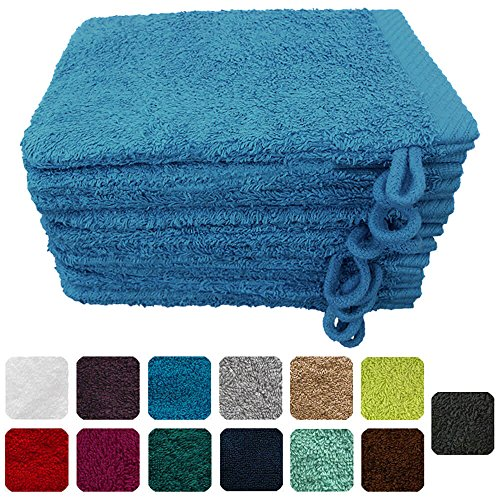 Lanudo® Luxus 10er Set Waschlappen / Waschhandschuhe 16x21 cm, 600g/m², 100% Baumwolle, Serie Pure Line in höchster Qualität, Farbe: Türkis