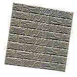 Phenovo 3D Brick Waterproof Wall Sticker Self-Adhesive Wallpaper 60*60Cm#1 Grey