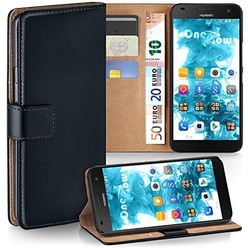 moex Huawei G7 | Hülle Schwarz mit Karten-Fach 360° Book Klapp-Hülle Handytasche Kunst-Leder Handyhülle für Huawei Ascend G7 Case Flip Cover Schutzhülle Tasche