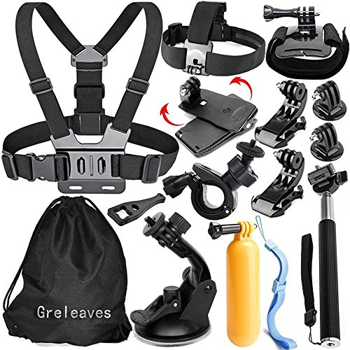 Gopro Zubehör, Greleaves Outdoor Sport Zubehör Kit für GoPro Hero Black Silver 6/5/4/3/2/1 SJ4000 SJ5000 SJ6000 Xiaomi Yi / WiMiUS / Lightdow / DBPOWER / Apeman / AKASO Action Video Kameras