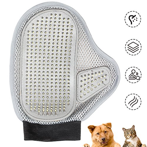 Hochwertiger Haustierhandschuh mit Gummi-Noppen, Pet Fellpflege Handschuh für Einfache Haarentfernung, Baden & Massage, Hundebürste Katzenbürste mit Einstellbar Klettverschluss -