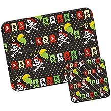 Mania de pirate avec trésor et les perroquets Tapis de souris/Pad et ensemble de dessous de verre Pirate Bunting & Cross Bones