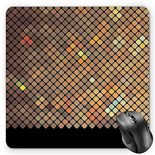 Earth Tones Mouse Pad, Vibrant Mosaic of Diagonal Squares with a Black Finish Celebration Event Theme Gaming Mousepad Office Mouse Mat Multicolor Diagonale Finish