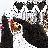 Guanti Invernali Touchscreen | Taglia Universale, Unisex, Antivento, per Smartphone, Nero | Guanti da Esterno