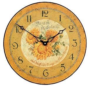 Roger Lascelles Horloge murale Motif tournesol