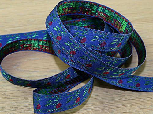 17 mm Woven Muster, Jacquard Band Trimmen Geflecht Royal Blau - Meterware -
