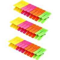 Fclues Plastic Cloth Clips Pegs Laundry Pegs Sock Food Sealing Photos Clips Multicolor - Pack of 36 Pieces