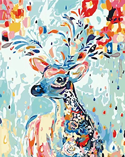Suntown Holzrahmen Malen Nach Zahlen 40 X 50cm Diy Leinwand Gemälde Für Erwachsene Und Kinder Mit 3 Bürsten Und Acrylfarben Regenbogen Hirsch