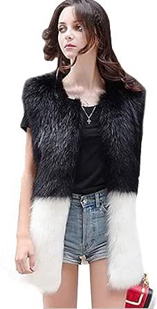 Ushiny - Gilet in pelliccia sintetica senza maniche, leggero, per donne e ragazze