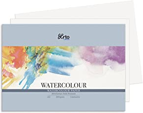 FABRIANO Watercolour paper pack , wood-free(25% cotton, Fabriano studio, cold pressed) - A4 - 300 gsm (12 sheets) - Pack of 2 - by ARTO