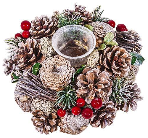 Casa & Christmas Porta Candela Bacche Cm 22, Pigne, Frosted, Taglia Unica