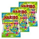 Haribo Rainbow Fizz, 3er Set, Gummibärchen, Weingummi, Fruchtgummi, Sauer, 3 Beutel zu je 175 g