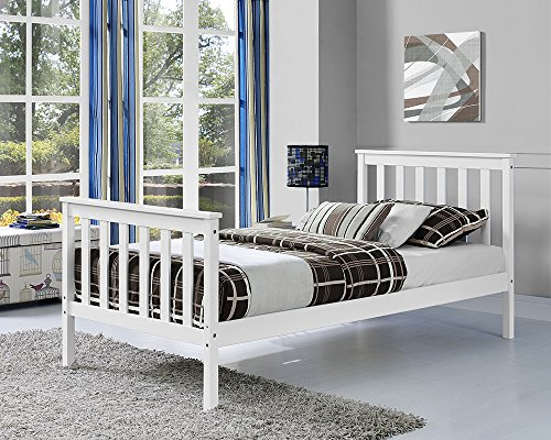 Classic White Pine Bed Frame - Available in Single, Double or King Sizes - Built with SOLID Wood (Double)