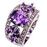 YAZILIND Women's Jewelry 18K White Gold Plated Purpel Cubic Zirconia Bridal Ring Size 7