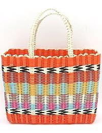 Retro Tejido recto cesta de la compra Patchwork Naranja Bolso de la compra