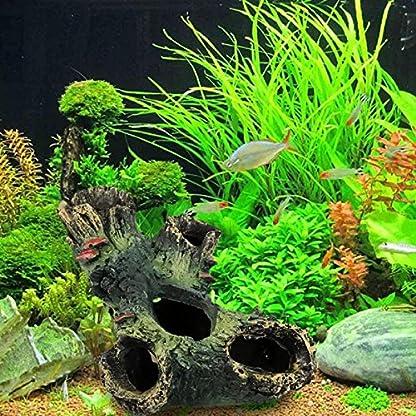 Rcool Home Fish Tank Aquarium Cave Resin Trunk Ornament Bole Landscape Decoration(12*7*11cm) 6