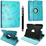 """FOR AMAZON KINDLE FIRE HD 7"""" VARIOUS PU LEATHER WITH SLEEP/WAKE STANDBY MAGNETIC CASE COVER POUCH + STYLUS BY GSDSTYLEYOURMOBILE (Sky Blue Diamond Flip)"""
