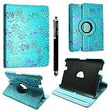Kindle Fire HD 72012Fall, Geldbörse Leder Flip Cover mit Karte Slot Full Body Schutz Cover (Rose Sky Blue Diamond) - KAMALSTAR