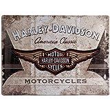 Nostalgic Art Harley Davidson American Classic Logo - Placa decorativa, metal, 30 x 40 cm, color beige y marrón