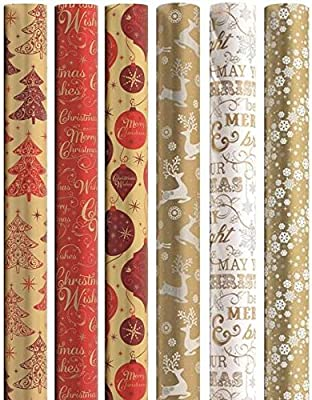 30m Christmas Gift Wrapping Paper 6x5m Roll - Contemporary Gold Silver & Claret Designs