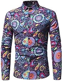 Goosuny Herren Blumen Bluse Freizeit Print Langarm Business Hemden Herbst  Männer Freizeithemd Shirts Tops Longsleeves Button 28421c8743