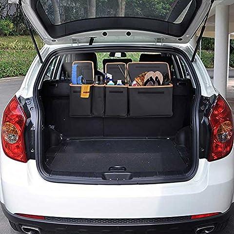 Backseat Trunk Organizer, Siivton Car Trunk Organizer Back Seat Trunk Storage Organizer for Kids,Travel, Heavy Duty with Bottom Plate 4 Pocket Auto Interior Cargo Accessories SUV & Car Organizer