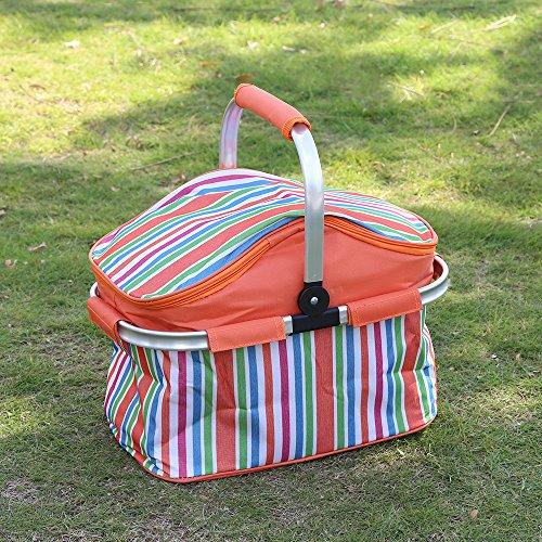 Plegable cesta de Picnic Caja de Comida Aislamiento Térmico Bolsa del Almuerzo Bolsa de Almacenamiento para Picnic Al Aire Libre con aislamiento para Picnic al aire libre o Camping- mantiene frescos l (Orange)