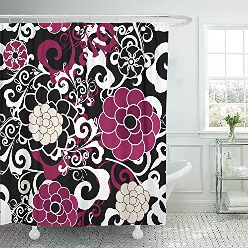 LINGJIE Duschvorhang 60X72 inch Shower Curtain Waterproof Red Black Dark with Pink and Violet Flowers and White Pattern Floral Abstract Cute Home Decor Polyester Fabric Adjustable Hook -