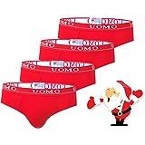 TrendyBoy Intimo Bambino in Cotone Natalizio Intimo 6-16 Anni Mutande Confezione da 4 Pezzi Colore Rosso Capodanno Collezione