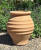 Kreta-Keramik mediterrane Amphore für den Garten,Terrasse Balkon Terrakotta, 35 cm handgefertigt frostfest, Agave
