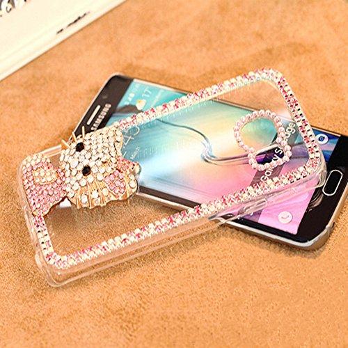 Preisvergleich Produktbild Spritech(TM) 3D Luxuxkristallglas Handgemachte Perle Design Klarer zurück Fall mit Kaninchen-Haar-weichen Pelz-warme harter Plüsch Fluffy Abdeckungs-Fall
