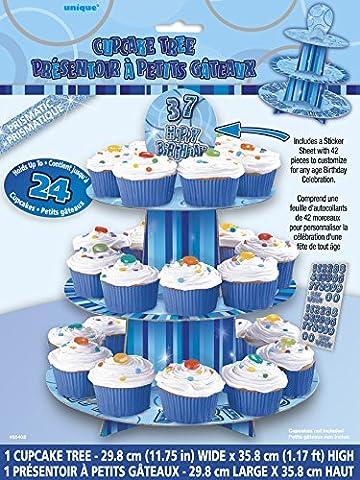 Unique Party - 55402 - Présentoir à Cupcake Bleu Personnalisable Glitz