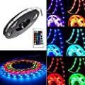 takestop–Coil of LED Strip with Remote Control, 5M, 300LED, SMD 5050, RGB, Multicolour, High Brightness, IP65, Water Resistant