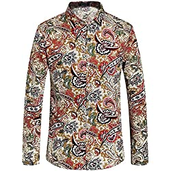 SSLR Camisa Casual de Manga Larga para Hombre Paisley de Algodón Regular Fit (Small, Multicolor)