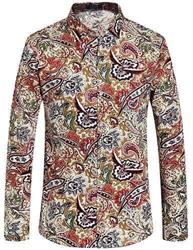 Drucken Regular Fit Hemd (SSLR Herren Hemd Langarm Baumwolle Paisley Drucken Regular-Fit Hemden für Freizeit Business Bügelleicht Shirt (Small, Mehrfarbig))