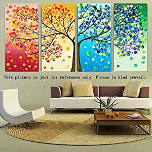 Anself DIY Handmade Needlework Punto Croce Set ricamo Kit Precise Stampato Big Tree primavera estate autunno inverno modello punto croce 120 * 57 centimetri casa combinano Decoration