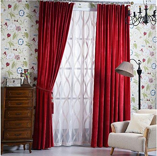 Samtvorhänge matt Samtvorhänge hotel, nicht die einfachen, farbigen Vorhängen, 1 PC (W400*L 200 CM), rot