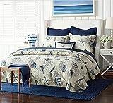 Unimall 4507387 Tagesdecke Doppelbett 250 x 270 cm Wende Decke mit Muscheln Muster Beige-Blau 100%...