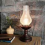 Retro Eisen Tischlampe Alte Schlafzimmer Nachttisch Lampe Kreative chinesische Nostalgie Schreibtisch Lampe Lampe E27 4W LED warme Glühbirne (Farbe : Klar)