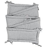 Sugarapple Rundum Nestchen, Bettnestchen & Bettumrandung in Streifen grau, Länge 420 cm für Baby & Kinderbetten, 100% Baumwolle, Oeko Tex 100, Made in Germany