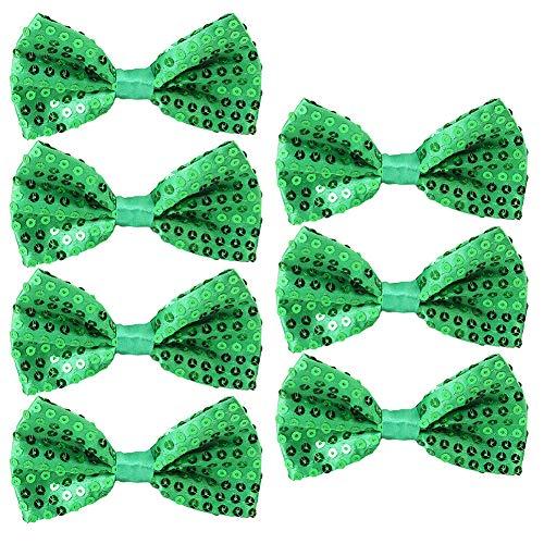 Feelava Pailletten Fliege Schleife 7 Pack Glitzer Fliege Vorgebunden, 7 x 12cm Einstellbare Fliege Eine Grösse passt allen Bow Tie, Herren Damen Kinder Fliege für Fancy Kostüm Party Zubehör (Green) -