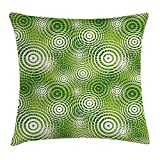 MLNHY Abstract Throw Pillow Cushion Cover, Circular Round Shaped Inner Geometric Eco Wavelength Illustration, Decorative Square Accent Pillow Case, 18 X 18 inches, Lime and Hunter Green White