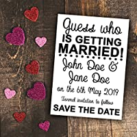 Pack of 500 Personalised White Guess Who is Getting Married A6 Funny Unique Save The Date Cards With or Without Envelopes Marriage Wedding Nuptials