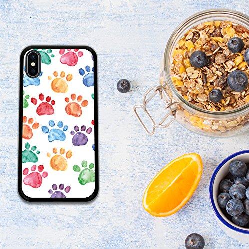 iPhone X Hülle, WoowCase Handyhülle Silikon für [ iPhone X ] Hund Fußabdruck Handytasche Handy Cover Case Schutzhülle Flexible TPU - Schwarz Housse Gel iPhone X Schwarze D0190