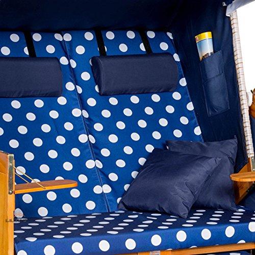 Strandkorb OSTSEE BDW blau, Geflecht weiß, blau-weiß gepunktet, mit Hülle, von LILIMO ® - 5