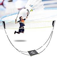 Badminton-Netz,Tragbares Badmintonnetz für Garten und Stand, Tragetasche, Volleyballnetz für den Innen- und Außenbereich…
