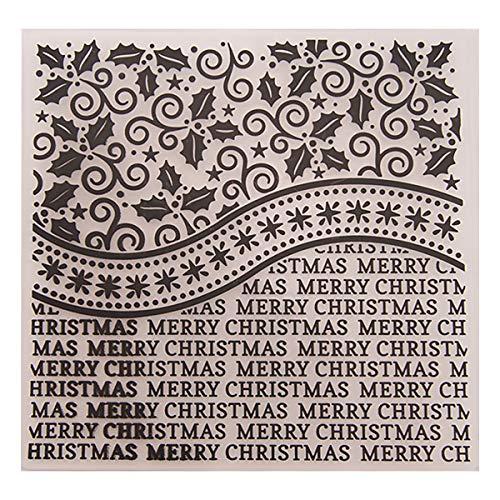 Kwan Crafts Merry Christmas Leaves Kunststoff-Prägeschablonen für Karten, Scrapbooking und andere Bastelarbeiten, 15 x 15 cm